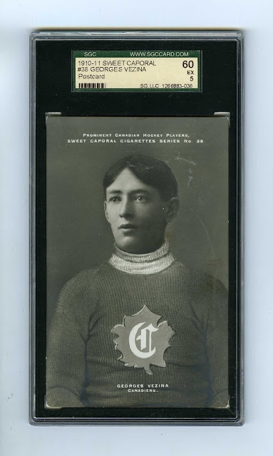 Early Canadian hockey cards fetch a big price at auction. This card with Montreal Canadiens goaltender Georges Vezina is said to be worth $50,000 on its own.