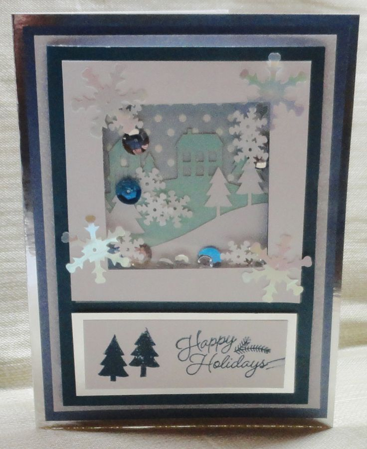 """November 2016 Paper Pumpkin alternate ideas from Sandy (Added 2 1/8"""" Square punch; White, White Glitter, Blue Star Metallic, & Silver Mirror cardstocks; Blue with White Dots Scrapbook paper; Snowflake, Silver, & Blue sequins)"""