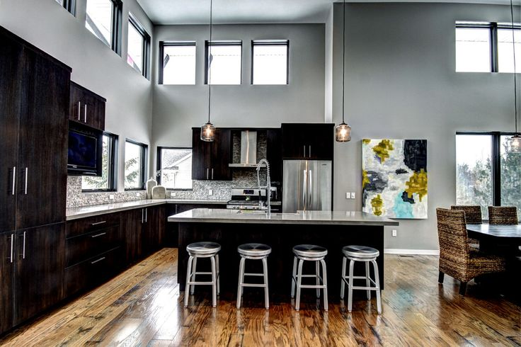 gray kitchen walls with brown cabinets - Google Search