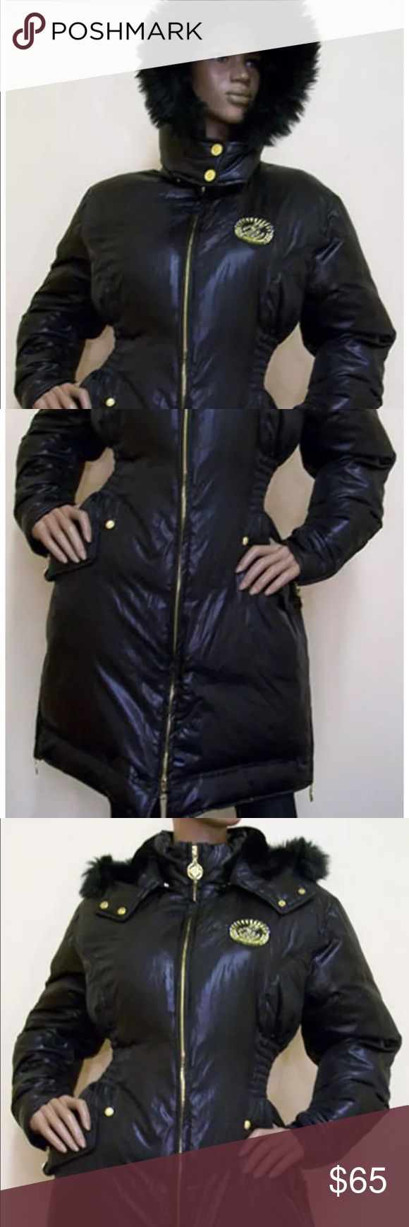 Ladies Rocawear Black Long Puffer Down Coat Beautiful Curvy Long Puffer Down Coat with Removable Hood and Faux Fur Trim by Rocawear. Women's Black Full Zipper Front Closure and Hood Zips Down to Lay Flat. Gold Zippers at Each Cuff and Side Hems. Rocawear Emblem at Crest with Bling!  Shell 100% Nylon, Lining 100% Polyester, Fill 40% Down & 60% Feather. Machine Washable. Rocawear Jackets & Coats Puffers