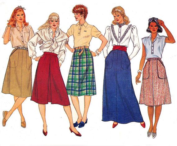 80s Skirts Pattern Butterick 6309 Vintage by allthepreciousthings