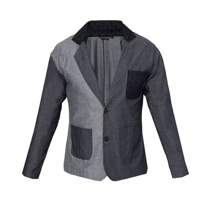 Ged Shayne Blazer by Lazuli Sarae. Denim blazer, with dark grey color combined with light grey, and black pocket with pattern, accent black pattern on the neck, two button accent, with  light grey and dark grey pocket in front. Perfect for your casual style or for a formal occasion. http://zocko.it/LEGud