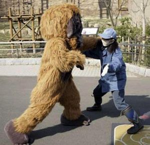 """""""Wild"""" beasts break loose from Tokyo Zoo to the delight of Japanese children: Ueno Zoo's """"Escaped Animal Drill"""" is one of Tokyo's oddest annual events, but one that has built up a cult following among elementary school-aged children, and lovers of the absurd. Zookeepers dress up in elaborate animal costumes and make a break for it, while 150 of their colleagues, together with police and emergency workers, practice how they would handle the situation if an animal really breaks loose."""