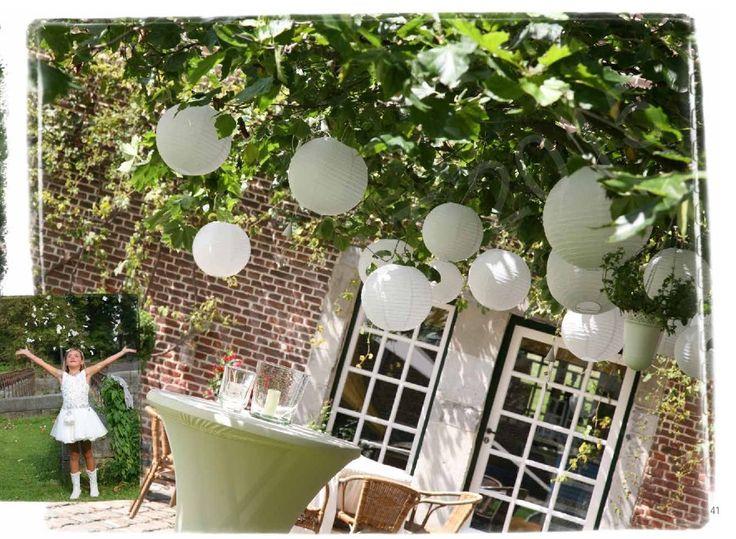 Witte lampionnen in boom