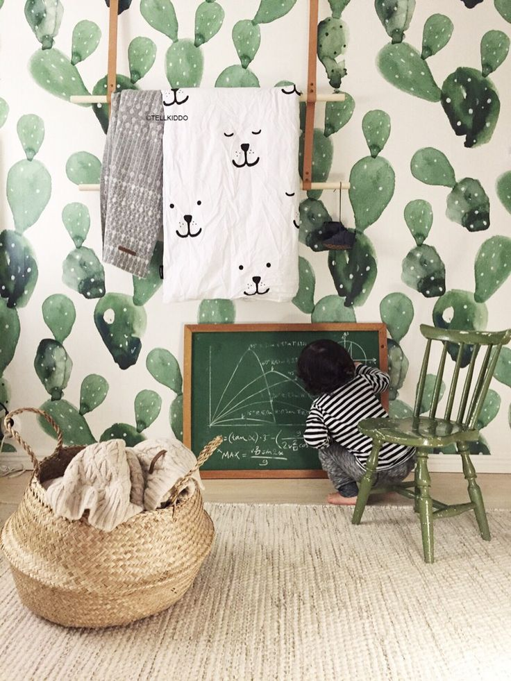 Wallpaper, Belly Basket, Little Green Chair U0026 Green Chalkboard