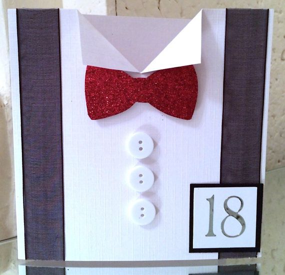 Personalised handmade birthday card  for men/dad son grandad boss friend - shirt and bow tie design 18th 21st 30th 40th 50th 60th