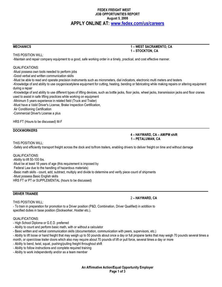 fedex dock worker sample resume origin the word free hardware - fedex dock worker sample resume