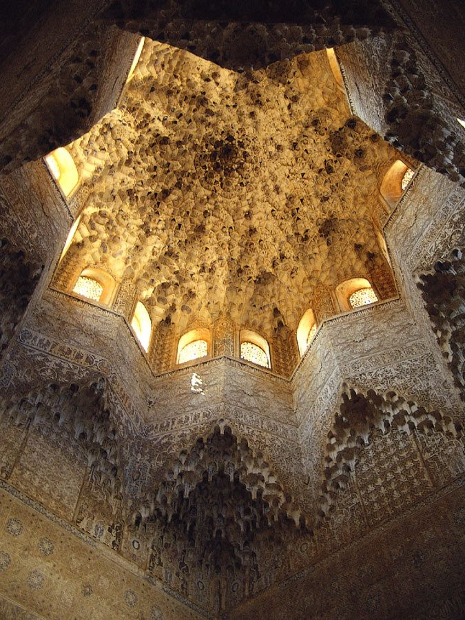 muqarnas dome, hall of the two sisters, alhambra palace, granada, spain