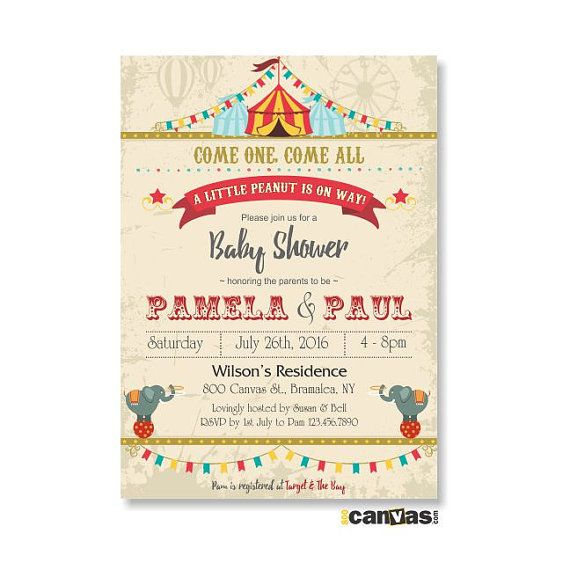 Circus Baby Shower Invitation, Etsy Baby Shower Invite, Circus Elephant, Little Peanut, Carnival, Circus Invitation, Circus Themed Party, DiY Printable or Printed with FREE SHIPPING Hello, Welcome to 800Canvas! All invitations in the shop are customizable to any events. All text can be
