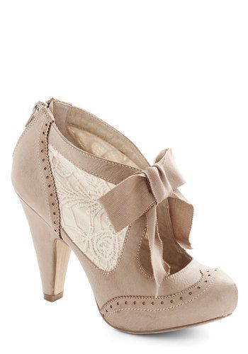 Drama Director Heel in Taupe - High, Faux Leather, Woven, Cream, Solid, Bows, Lace, Wedding, Party, Daytime Party, Valentine's, Vintage Insp...