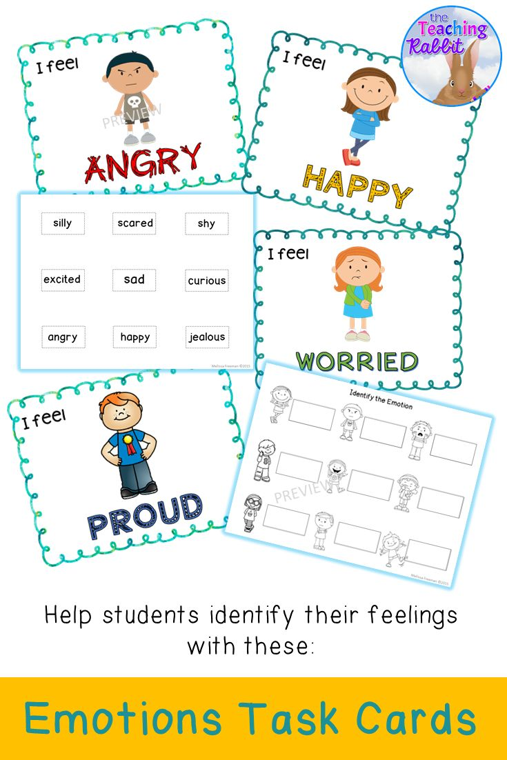 Help your students identify their feelings with these Emotions Task Cards.  Good for drama activities or a brain break!
