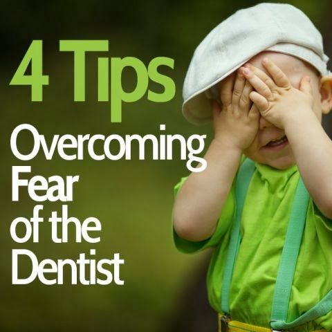 "4 Tips to Help Your Child Overcome Fear of the Dentist: 1. Schedule a ""meet & greet"" with the dentist! Make the first visit relaxed and informal. 2. Avoid negative dental words like ""drill"", ""pain"", or ""hurt"". 3. Understand your own fear and don't pass it on. 4. Prepare for your dental visit. Plan the day around the visit and make it a fun experience."