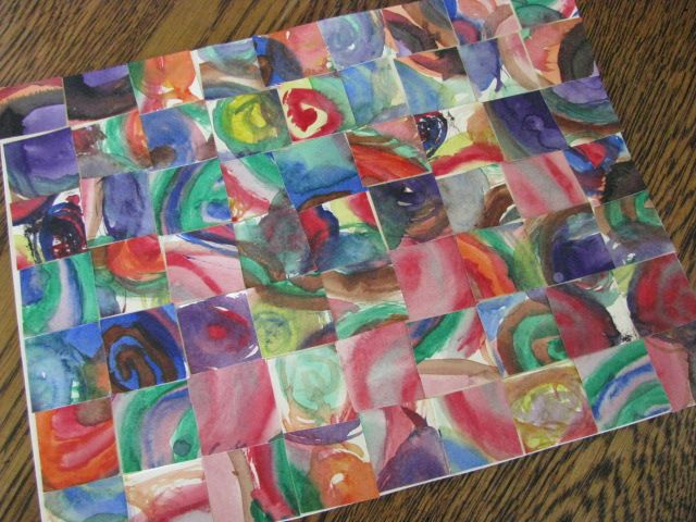 Make several free paintings  cut up and re-assemble