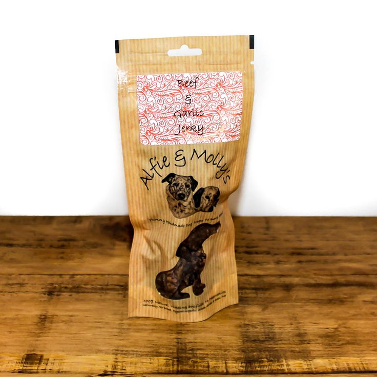 A delicious air-dried treat for dogs! Alfie & Molly's Beef and Garlic Jerky. Made in the UK.