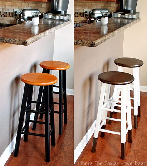 "Boring Bar Stools Upcycled W/ Bronze ""Dipped"" Legs & Classic Paint Job"