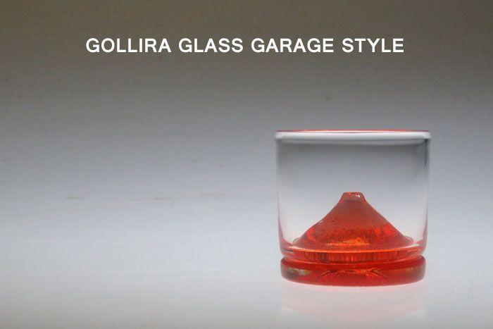赤富士ちょこ ぐい呑み・ぐいのみ・ガラス・酒器・グラス・プレゼント・ギフト・父の日・還暦・誕生日・退職祝い