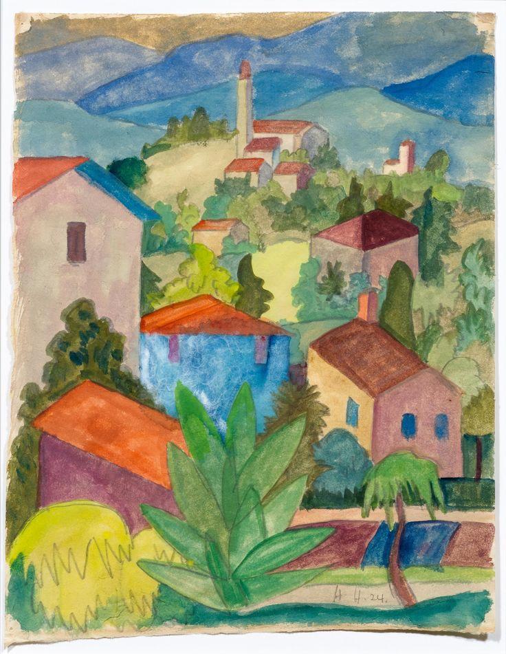 HERMANN HESSE. Landschaft im Tessin. 1924. Aquarell auf Papi