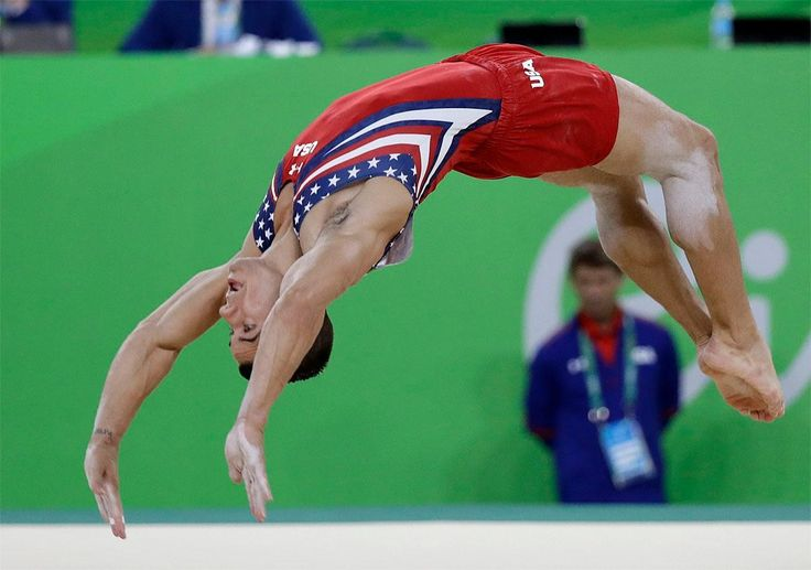 United States' Jake Dalton performs on the floor during the artistic gymnastics…