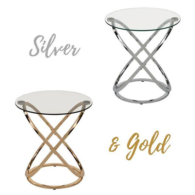The Carlyn Accent Table from !nspire comes in both chrome & gold. The overlapping elliptical base provides a fun, geometric design that goes with most décor styles! Gorgeous.