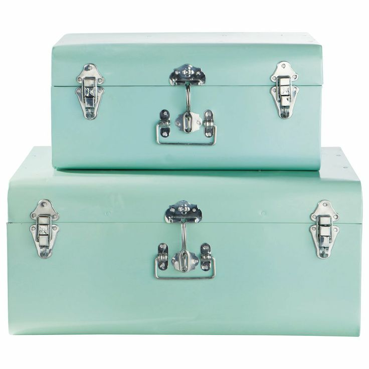 Set of 2 blue trunks - galvanized metal