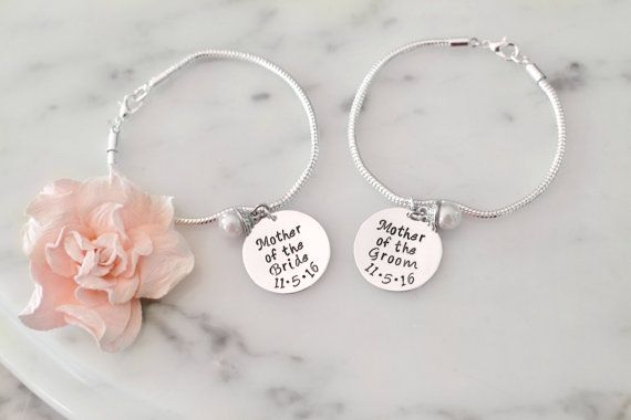 Mother of the Groom/Mother of the Bride Bracelet SET of TWO w/ OR w/out Pearl Charms - Personal Wedding Gift for Mom from Bride & Groom
