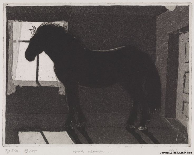 Outi Heiskanen (1937- ) Musta hevonen - Black horse - Finland - born in Mikkeli