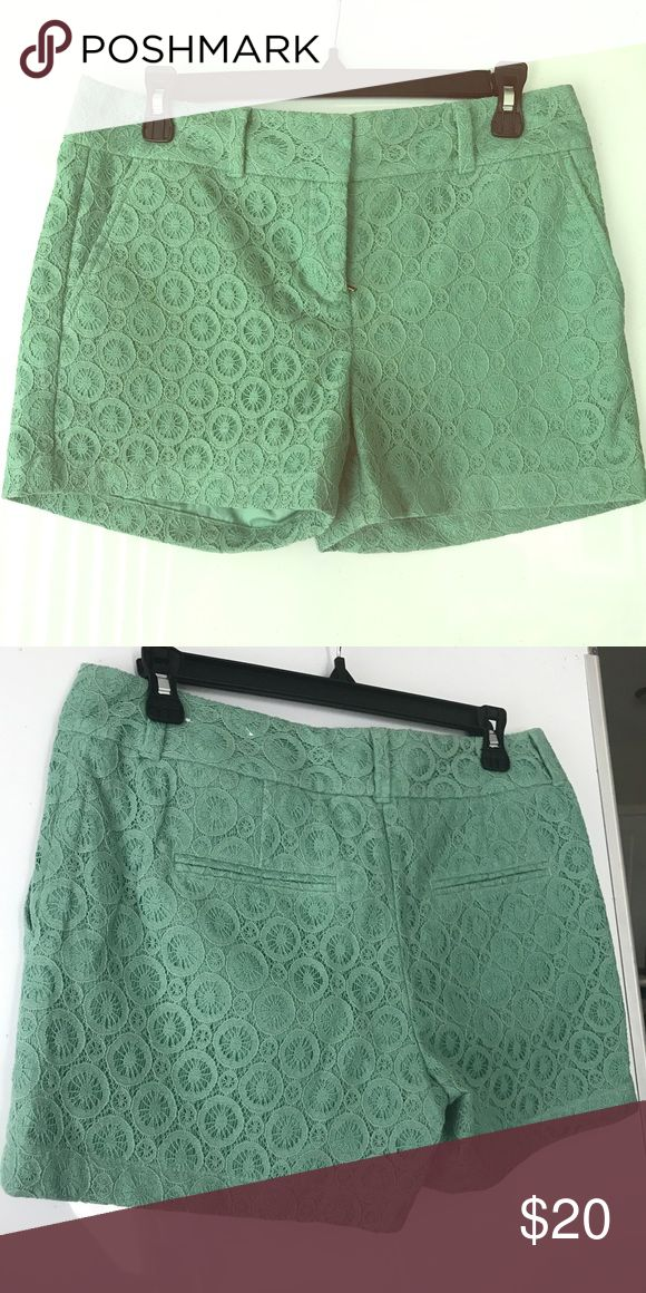 Pale green lace khaki shorts Never been worn Ann Taylor Loft Outlet green khaki shorts with lace overlay. Beautiful color, and shorts can be worn casually or dressed up! LOFT Shorts