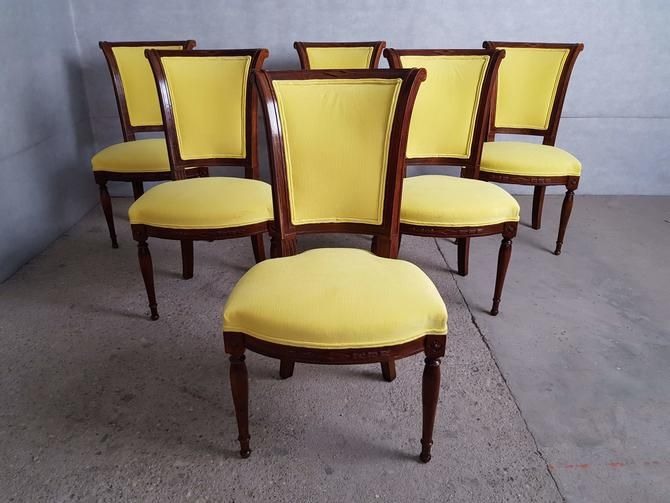 Set Of 6 French Louis Xvi Style Vintage Oak Dining Chairs Reupholstered Oak Dining Chairs Dining Chairs Vintage Dining Chairs