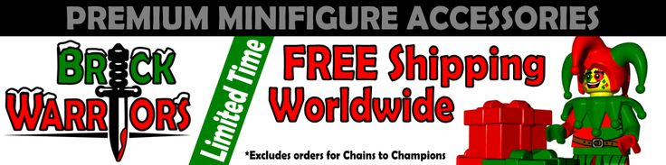 We've decided that shipping charges are lame.  Who needs 'em?  Not our customers!  The offer for Free Shipping Worldwide has been extended.  But you better hurry, it's only for a limited time! - #custom #Lego #minifigures #BrickWarriors #Christmas #presents #elf #freeshipping #guns #weapons #helmets #armor #sale #limited