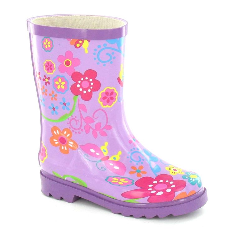 Spot On Childrens Girls Floral Rubber Wellington Boots (13 Child US) (Purple). Rubber wellington boots with floral design. Round toe. Short build (mid calf). Upper: Rubber, Lining: Textile, Sole: Other Material.
