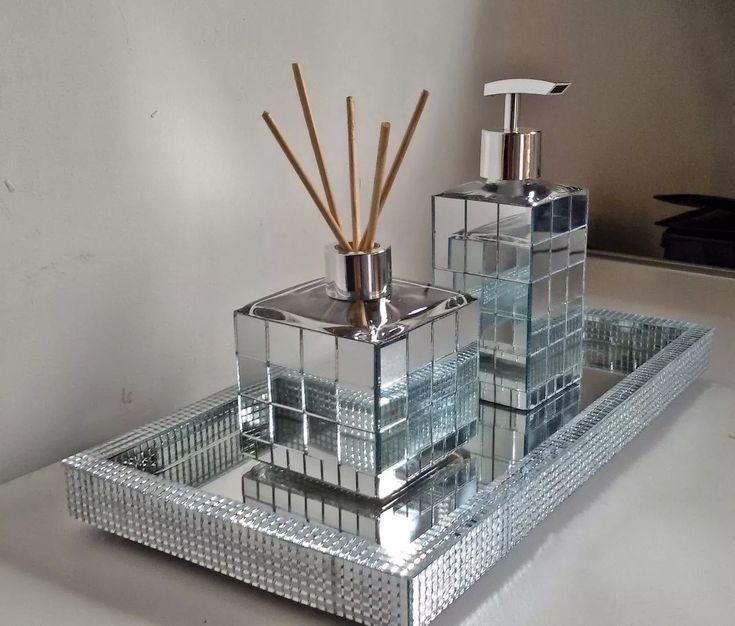 kit espelhados- bandeja 35x17 + porta sabonete liquido 250ml