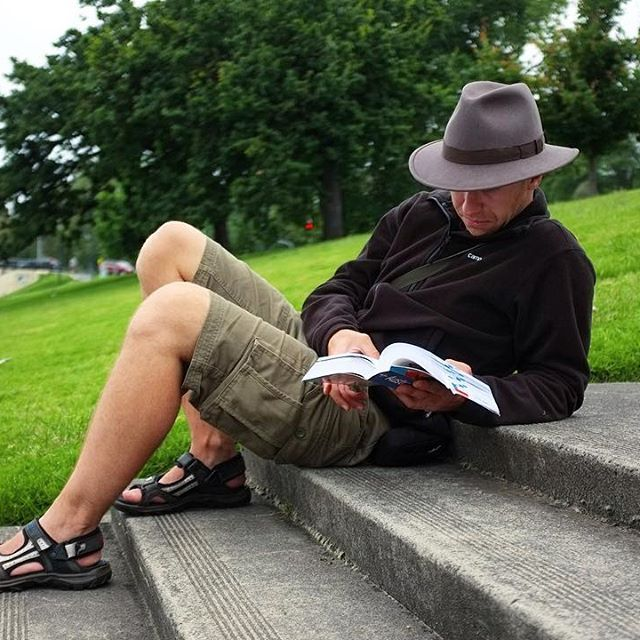 holiday relax river reading a book fedora casual street photo fashion mens menswear fashion style swag life style