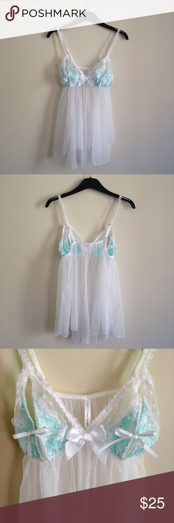 """Victoria's Secret bridal babydoll lingerie Sexy and sweet, this negligee is perfect for your wedding night or honeymoon. Blue and bow details. From the Victoria's Secret """"I do"""" collection. Excellent condition, no stains, tears or other flaws. Victoria's Secret Intimates & Sleepwear Chemises & Slips"""