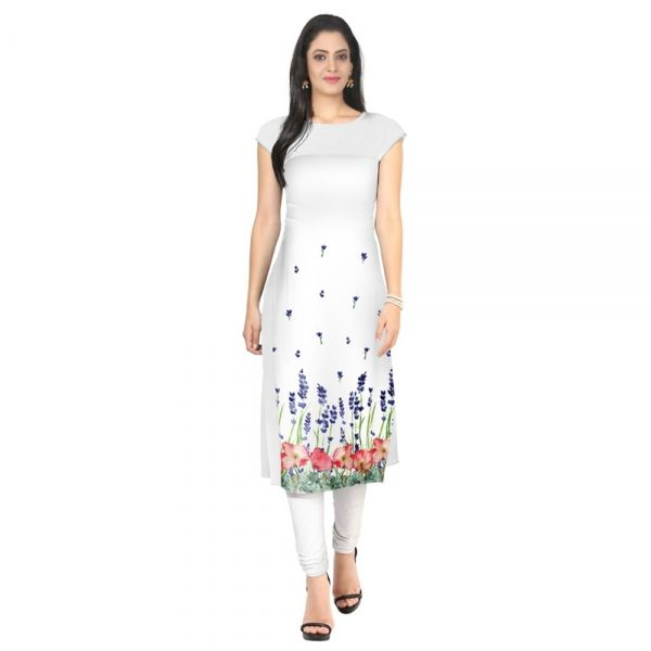 Buy White & Blue Color Floral Printed Kurtis Online at cheap prices from Shopkio.com: India`s best online shoping site