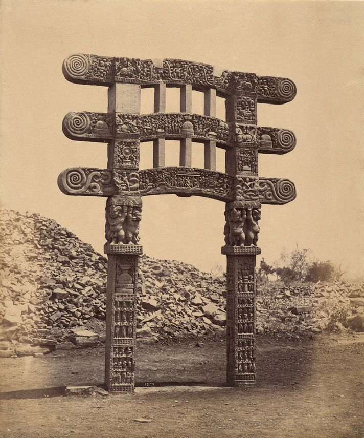 "fishstickmonkey: "" Photograph of Stupa 3, Sanchi from the Archaeological Survey of India Collections taken by Deen Dayal in 1883. The British Library """