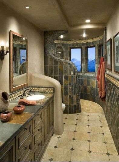 Cool bathroom redo with walk in shower. very well organized for a smaller space