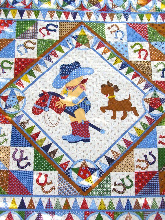 Cowboy Quilt, baby boy quilt, vintage baby quilt, baby boy ...