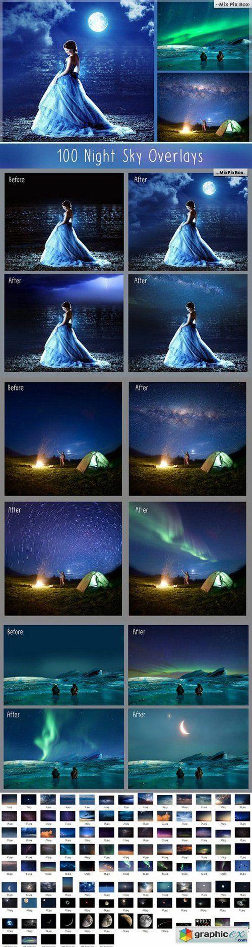 100 Night Sky Overlays  stock images