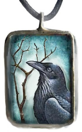 Shadow Box Raven Bird Corded Necklace