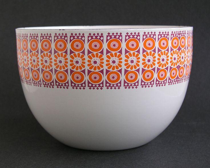 Vintage Kaj Franck FINEL Enameled Bowl DISKS, Raija Uosikkinen - Wärtsilä Arabia