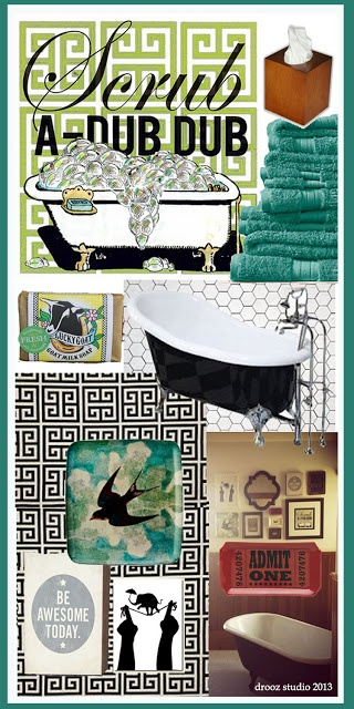 swoon w drooz : week #16: Scrub a DUB DUB! design board inspired by my kids bathroom! product links at www.droozdoodles.com @Amy Smith @Oopsy Daisy, Fine Art For Kids #luckygoatsoap @GreenBox Art + Culture
