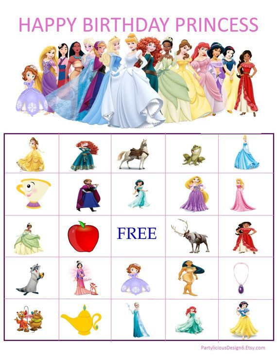Disney Princess Bingo is a great alternative to regular bingo and goes great with the theme. This set comes with 10 completely different cards and the caller cards. Additional cards available for purchase. This bingo game is available for immediate download in a PDF format for easy printing. Feel Free to ask questions before purchasing.    **Partylicious Design does not claim ownership for any character pictures used. The pictures used in my listings are found in Google and/or Yahoo. The…