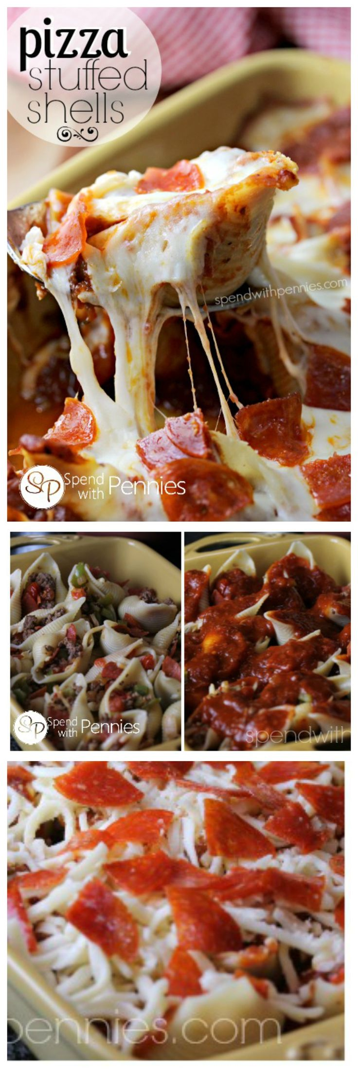 Pizza Stuffed Pasta Shells!  These easy baked pasta shells are stuffed with a lean beef & pepperoni filling and topped with gooey mozzarella cheese!