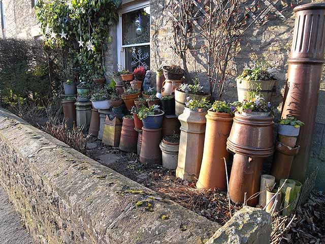 Chimney pots as planters