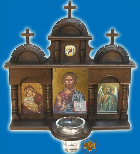 Wooden Iconostasis with Orthodox Icons for hanging in your wall triptych with Glass Oil Cup - www.nioras.com