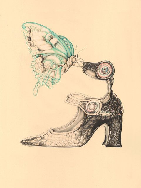 Illustration - Carmen Garcia Huerta - The Mushroom Company - shoe, butterfly