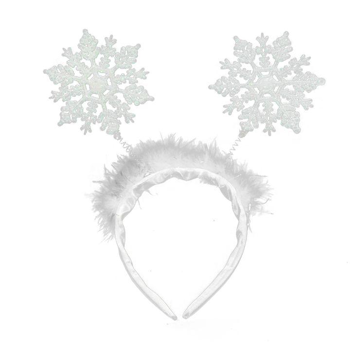 Błyszcząca opaska Śnieżynki z płatkami śniegu. Idealna do stroju na jasełka czy bal karnawałowy.