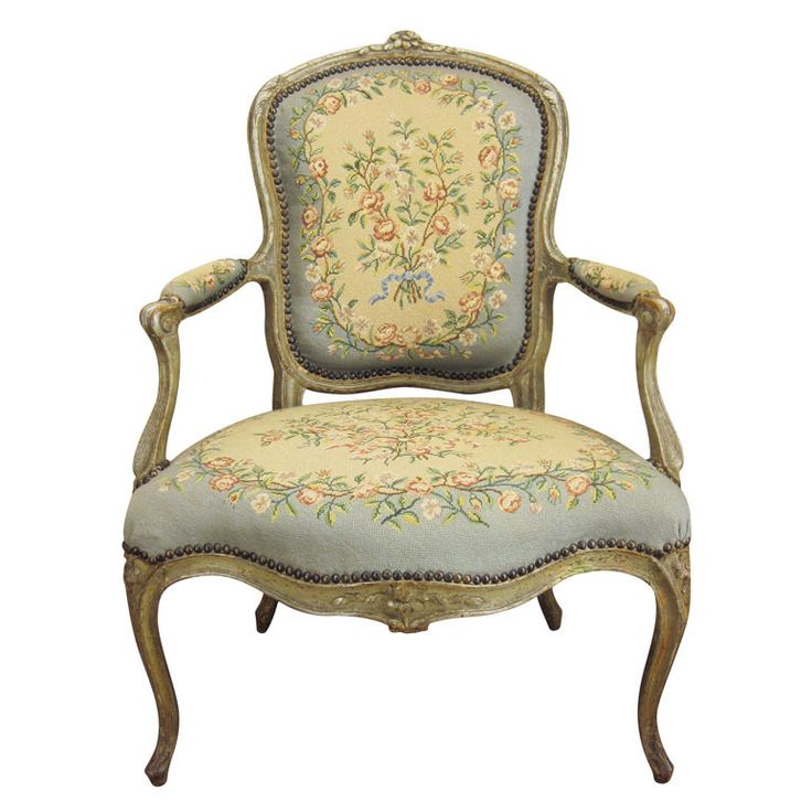 Vintage Armchair Styles: French Single Louis XV Fauteuil Or Arm Chair