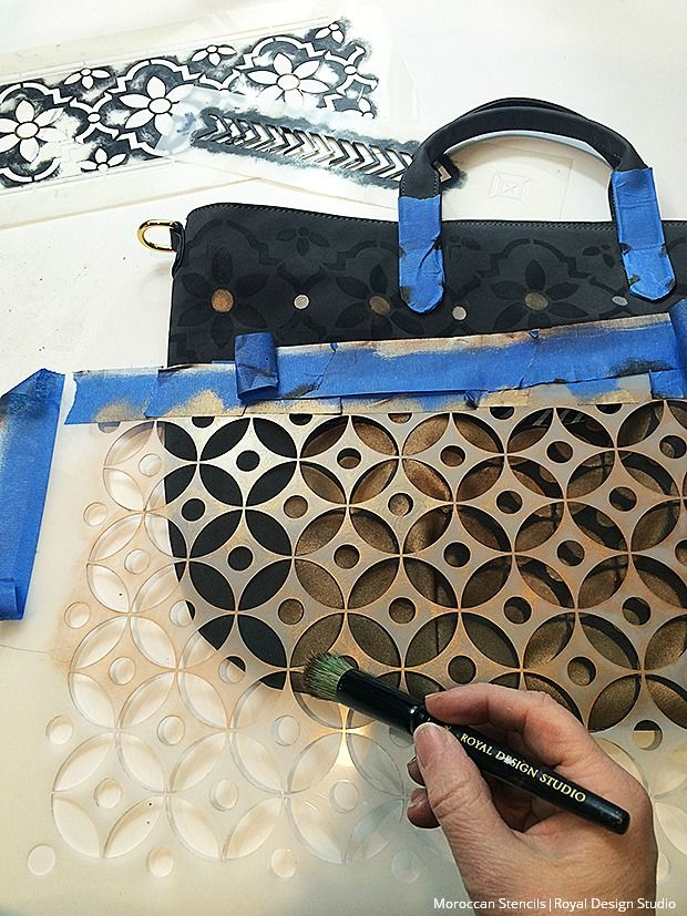 DIY Stenciled Tote Bag Tutorial: buy a plain tote bag from Old Navy, Target, etc. then paint on it!   Bohemian Tote Bag Painted with Royal Design Studio Moroccan Stencils