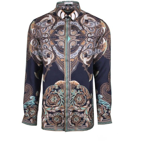 Versace Collection Batik Print Silk Shirt ($485) ❤ liked on Polyvore featuring men's fashion, men's clothing, men's shirts, men's casual shirts, mens slim shirts, mens silk shirts, mens slim fit shirts and batik bay mens silk shirts